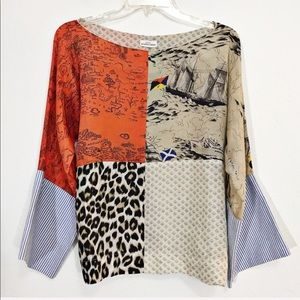 Urban Outfitters Color Block Silk Blouse